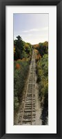 Framed Railroad tracks along Route 1A between Ellsworth and Bangor, Maine, USA