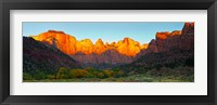Framed Towers of the Virgin and the West Temple in Zion National Park, Springdale, Utah, USA