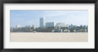 Framed Santa Monica Beach with buildings in the background, California, USA