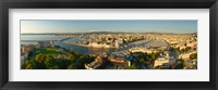 Framed High angle view of a city with port, Marseille, Bouches-du-Rhone, Provence-Alpes-Cote D'Azur, France