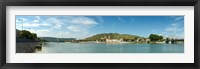 Framed Town at the waterfront, vineyards on the hill in background, Tain-l'Hermitage, Rhone River, Rhone-Alpes, France