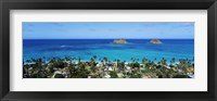 Framed High angle view of a town at waterfront, Lanikai, Oahu, Hawaii, USA