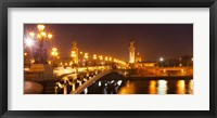 Framed Bridge across the river at night, Pont Alexandre III, Seine River, Paris, Ile-De-France, France