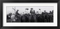 Framed Cowboys on horses at rodeo, Wichita Falls, Texas, USA