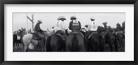 Framed Cowboys on horses at rodeo, Wichita Falls, Texas, USA