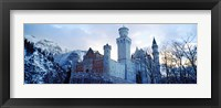 Framed Neuschwanstein Castle in winter, Bavaria, Germany