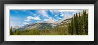 Framed Trees with Canadian Rockies in the background, Smith-Dorrien Spray Lakes Trail, Kananaskis Country, Alberta, Canada