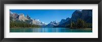 Framed Maligne Lake with Canadian Rockies in the background, Jasper National Park, Alberta, Canada