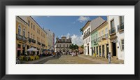 Framed Sidewalk cafes on a street in Pelourinho, Salvador, Bahia, Brazil