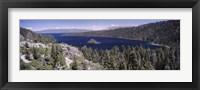 Framed High angle view of a lake with mountains in the background, Lake Tahoe, California, USA