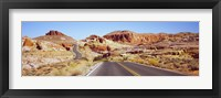 Framed Road passing through the Valley of Fire State Park, Nevada, USA