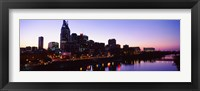 Framed Skylines at dusk along Cumberland River, Nashville, Tennessee, USA 2013