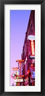 Framed Neon signs at dusk, Nashville, Tennessee, USA
