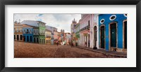 Framed Colorful buildings, Pelourinho, Salvador, Bahia, Brazil
