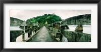 Framed Stone bridge leading to a small island, Niteroi, Rio de Janeiro, Brazil