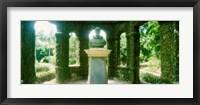 Framed Memorial statue in the house of cedar, Jardim Botanico, Zona Sul, Rio de Janeiro, Brazil
