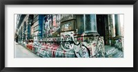 Framed Graffiti covered Germania Bank Building on Bowery Street, Soho, Manhattan, New York City