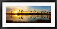Framed Reflection of trees in water at sunset, Lake Worth, Palm Beach County, Florida, USA
