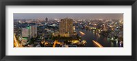 Framed High angle view of city at dusk, Chao Phraya River, Bangkok, Thailand