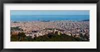 Framed Aerial View of Barcelona and Mediterranean, Spain