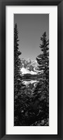 Framed Lake in front of mountains in black and white, Banff, Alberta, Canada