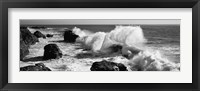 Framed Waves breaking on the coast, Santa Cruz, California (black and white)