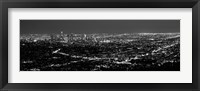 Framed Black and White View of Los Angeles at Night from a Distance