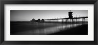 Framed Pier in the sea, Huntington Beach Pier, Huntington Beach, Orange County, California (black and white)