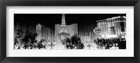 Framed Las Vegas Hotels at Night (black & white)