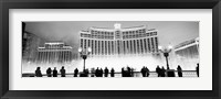 Framed Bellagio Resort And Casino Lit Up At Night, Las Vegas (black & white)