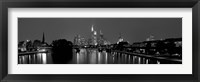 Framed Reflection of buildings in water, Main River, Frankfurt, Hesse, Germany