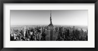 Framed Aerial view of a cityscape, Empire State Building, Manhattan, New York City, USA (black & white)