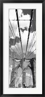 Framed Brooklyn Bridge, Manhattan, New York City (black and white, vertical)