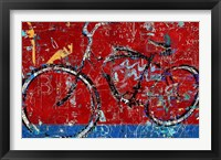Framed Red Graffiti Bike