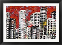 Framed Red, Black and White Cityscape
