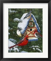 Birds At Feeder (Winter) Framed Print
