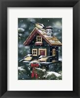 Framed Winter Birdhouse