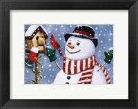Snowman/Birdhouse Framed Print