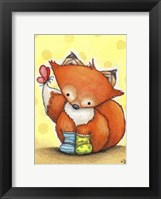 Little Fox in Socks Framed Print