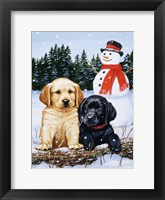 Framed Lab Puppies With Snowman