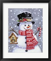 Snowman With Tophat Framed Print