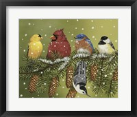 Snowy Feathered Friends Framed Print