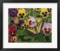 Framed Butterflies And Pansies