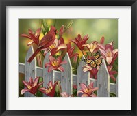 Framed Cardinal and Lilies