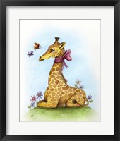 Framed Pretty in Pink Giraffe
