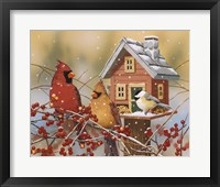 Framed Winter Birds Buffet