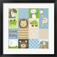 Baby Boy Animal Quilt Framed Print