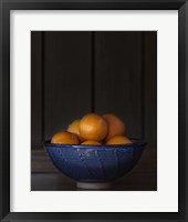 Framed Ten Oranges in a Blue Bowl lo key