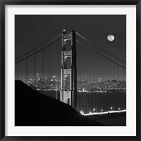 Framed Golden Gate and Moon BW