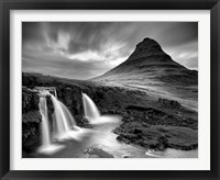 Framed 3 Waterfalls BW
